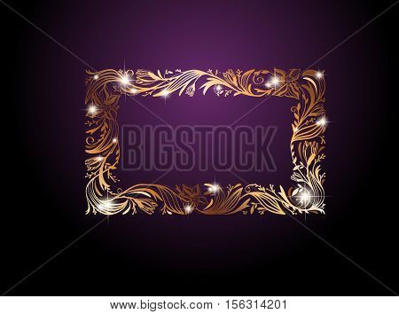 Golden Floral Decorative Frame With Stars and Copyspace