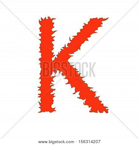 Fire letter K isolated on white background with clipping path