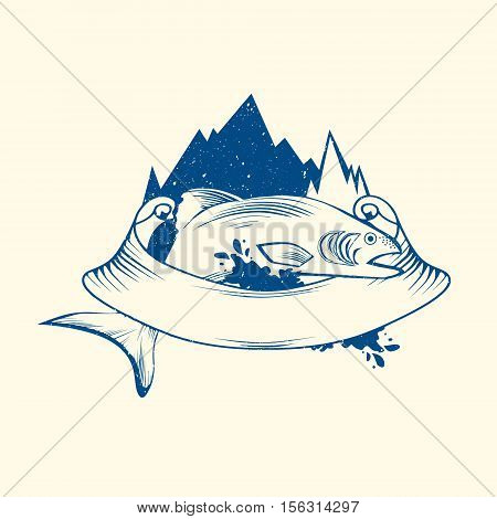 Fish Logo Design With Mountain and Ribbon Copyspace