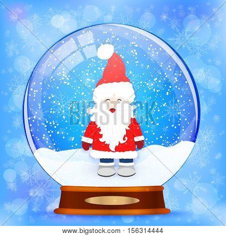 Snow globe with a Santa Claus vector