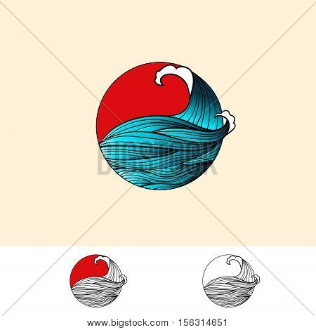 Japan Style Abstract Ocean Water Logo Design