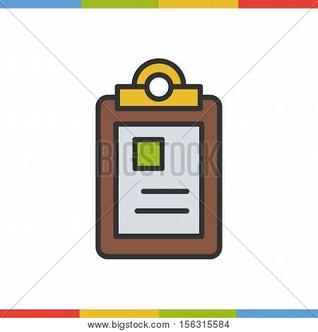 Police file color icon. Isolated vector illustration