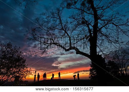 Silhouette of a group of people at colorful sunset over Kalemegdan park in Belgrade, Serbia