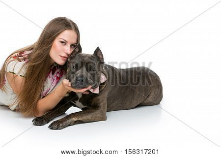 Beautiful elegant happy young woman in white dress hugging adult grey amstafford terrier dog with bow on neck. Isolated on white background. Copy space.