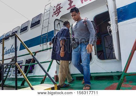 Muara,Brunei-Nov 10,2016:Passenger ferry arrived at Muara terminal ferry,Brunei.The main ferry terminal in Brunei is the Serasa Ferry Terminal at Muara,there are several ferries daily to/from Labuan.