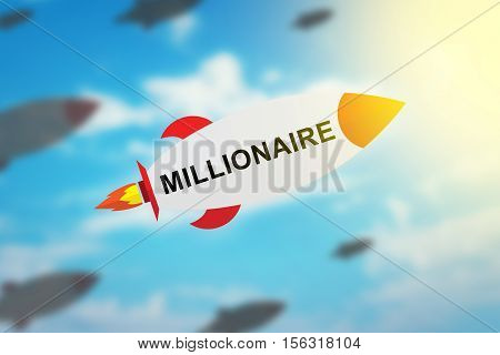 group of millionaire flat design rocket with blurred background and soft light effect