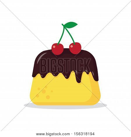 vector pudding with red cherry on a white background. isolated object.