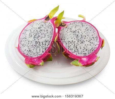 Fresh Fruits A Dish of Ripe and Sweet Dragon Fruit or Pitaya Isolated on White Background.