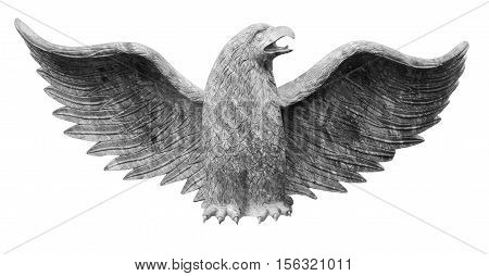 Eagle sculpture with a wingspan isolated on white