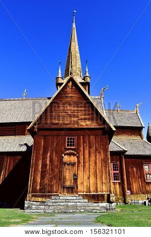 lomskyrkja, wooden, stave, church, skandinavia, old, norway, cultural asset, national treasure, brown, blue, Vikings, Wikinger,