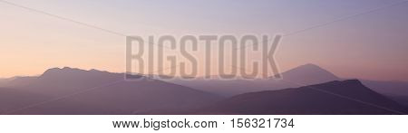 Sunset. Ridge Mountains. Skyline. Dinaric Alps. Sky Gradient. National Park Lovcen, Montenegro
