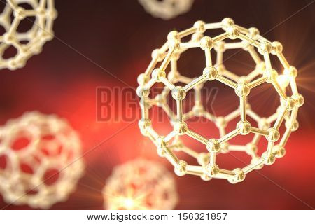 3D illustration of nanoparticles on colorful background