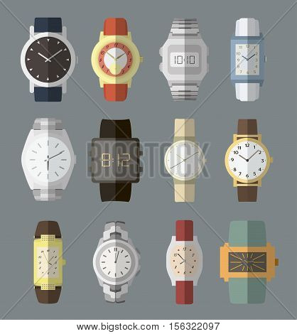 Set of watches in classic design. Vector illustration. Man gold watches isolated on color background.