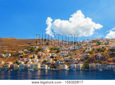 Greece. Dodecanesse. Island Symi Simi  Colorful houses