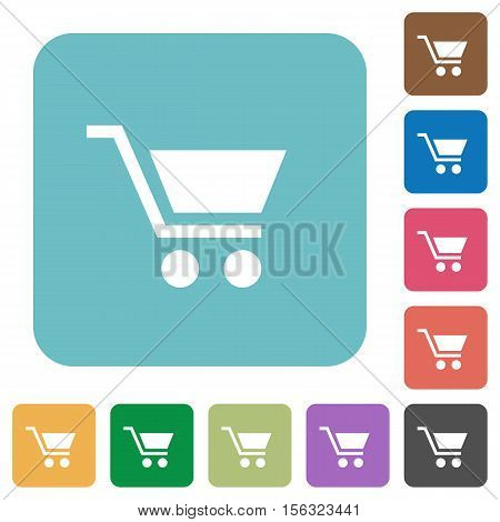 Empty cart white flat icons on color rounded square backgrounds