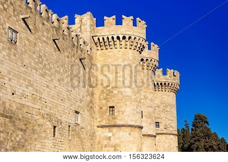 The Palace of the Grand Master of the Knights of Rhodes , also known as the Kastello, is a medieval castle in the city of Rhodes, on the island of Rhodes in Greece.The main entrance.