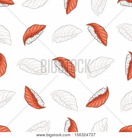 Vector seamless pattern Sushi nigiri sake, color and sketch