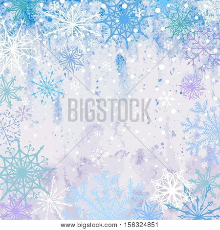 Winter vector blue celebration or invitation square card with falling snowflakes on the frost background