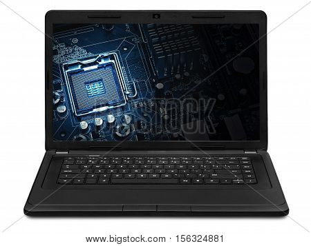 the computer motherboard on a laptop screen