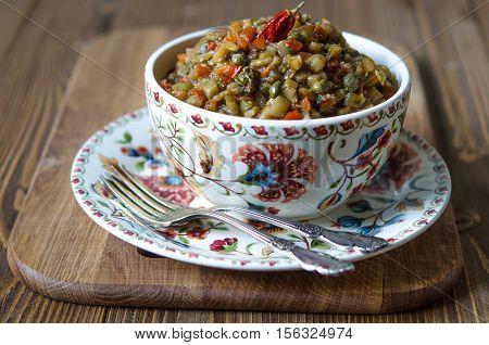 Eggplant Caviar With Tomato Onion Sweet Chilli And Capers