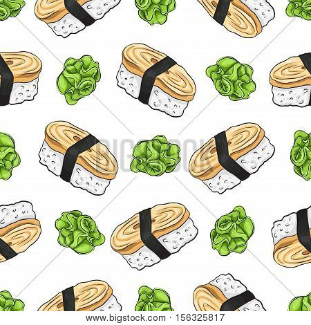 Vector seamless pattern Tamago Nigiri Sushi with wasabi, color