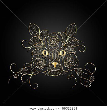 Gold ornate cat face on black background