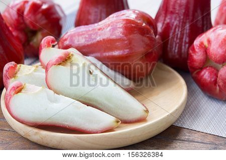 rose apple Thailand apple fruit flavors of sweet red gloss. rose apple on background