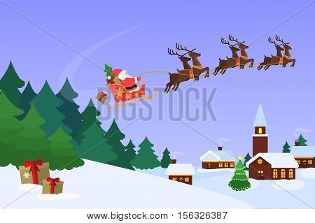 Christmas landscape with christmas trees an houses. Background with blue sky and Santa Claus flying on a sleigh. Concept for greeting or postal card, vector illustration