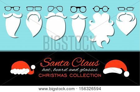 Merry Christmas. Set of various Santa hats, moustache, beards and eyeglasses isolated on blue background