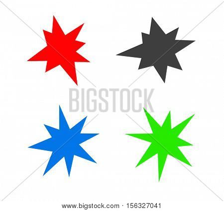 colored starburst splash star icon set