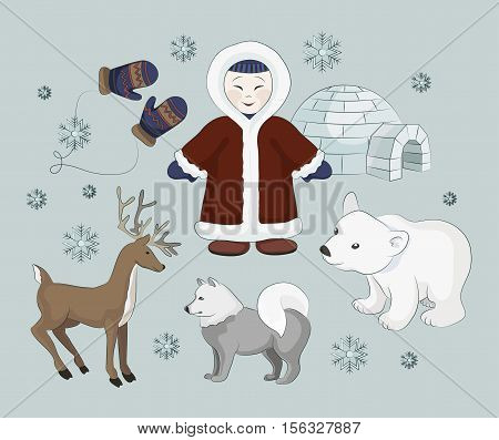 Vector set of eskimo characters with igloo house, dog, white bear and penguins. People in traditional eskimos costume and arctic animals.