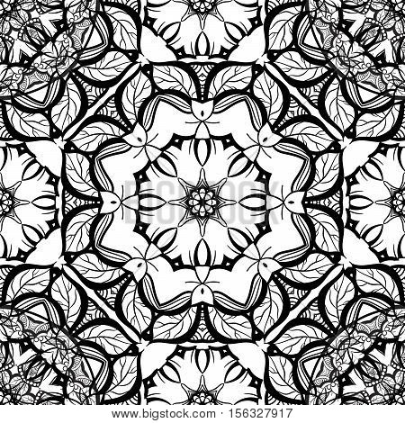 Hand-drawn mehendi ornamental seamless pattern. Oriental style decorative design templates. EPS 10 vector illustration black and white