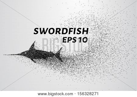 Swordfish from the particles. Swordfish is made up of little circles and dots.