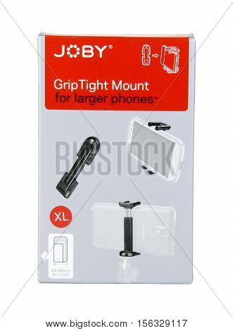 Spencer Wisconsin - November 13 2016 Joby grip tight mount for cell phones Joby is an American based company founded in 2006