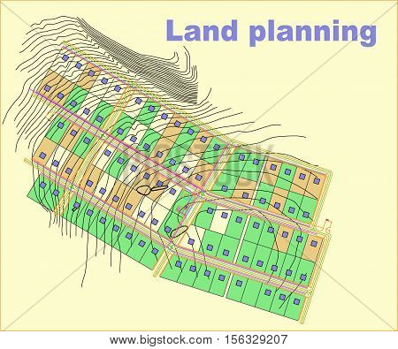land, planning, plan, city, urban, landscape, drawing, village, color