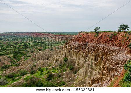 Natural phenomenon Miradouro da Lua or the Moon Landscape in Angola. Wind and rain erosion has formed this fantastical landscape.