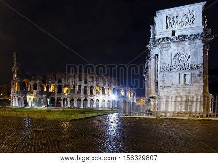 Colosseum And Constantine Arch Night View, Rome.