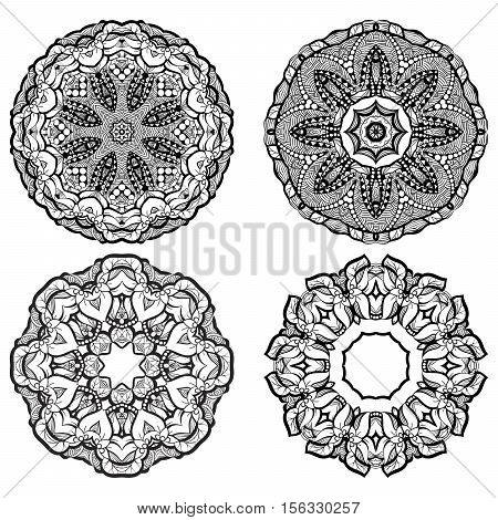 Hand-drawn mehendi ornamental elements and mandala collection. Indian henna tattoo set. Oriental style decorative design templates. EPS 10 vector illustration isolated on white