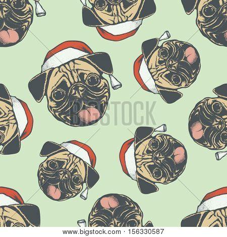 Pug dog vector seamless pattern illustration. Pug dog head isolated