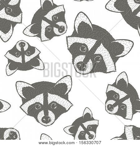 Raccoon vector seamless pattern illustration. Raccoons head isolated