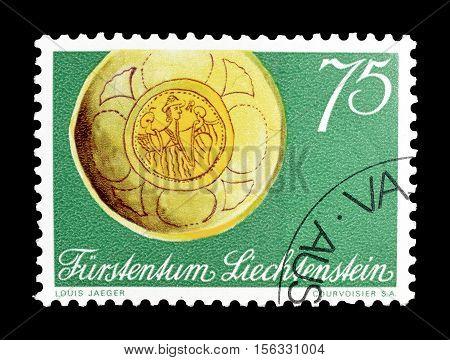 LIECHTENSTEIN - CIRCA 1971 : Cancelled postage stamp printed by Liechtenstein, that shows Gold medallion.