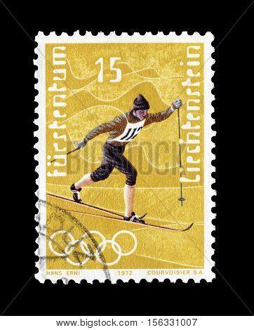 LIECHTENSTEIN - CIRCA 1971 : Cancelled postage stamp printed by Liechtenstein, that shows Cross country skiing.