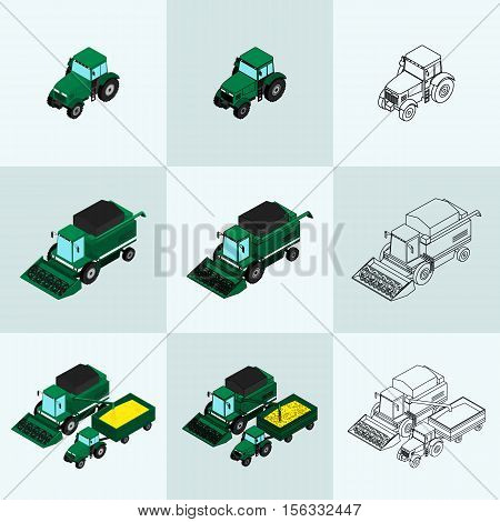 Vector illustration. Set of agricultural icons in different styles. Farm equipment. The tractor-trailer tractor sprays insecticide and with a plow. The harvester harvests. Isometric 3D