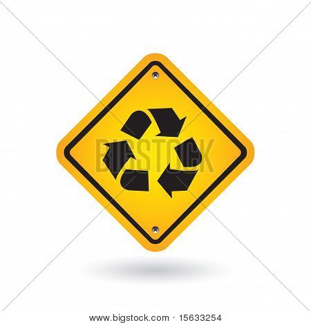 Yellow Sign With Recycle Symbol