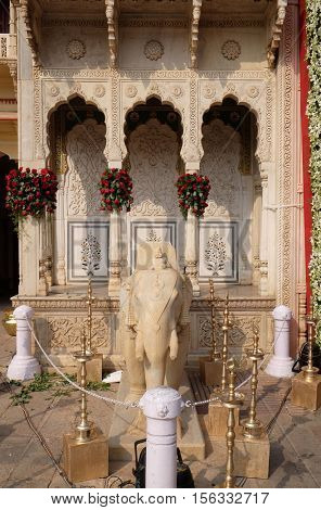 JAIPUR, INDIA - FEBRUARY 16: Elephant statue, City Palace complex in Jaipur, Rajasthan, India. It was the seat of the Maharaja of Jaipur, the head of the Kachwaha Rajput clan, on February 16, 2016.