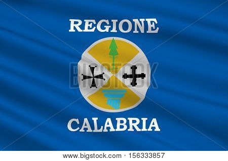Flag of Calabria is a region in Southern Italy. 3d illustration