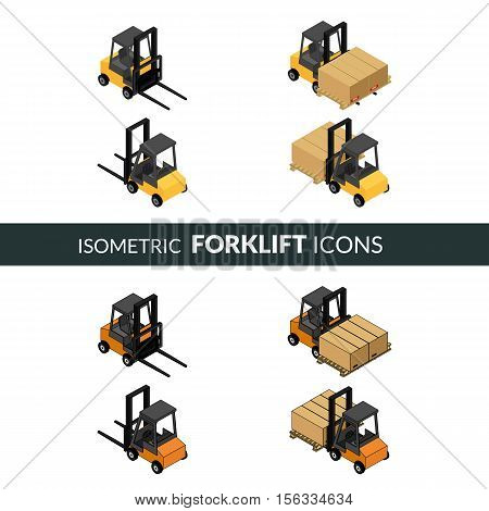 vector illustration. Set of isometric icons of the forklift. Loader with pallet with boxes. Colorful and contour. 3D.