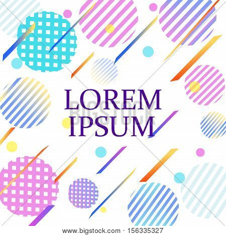 Memphis pattern geometric shapes tissue postcard. Hipster poster juicy bright color background. Abstract fashion geometric graphic style 80s memphis pattern vector. Trendy creative ornament.