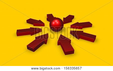 Red arrows and sphere on yellow background - 3d rendering