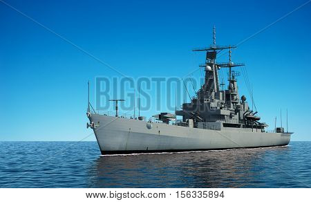 American Modern Warship In The Ocean. 3D Illustration.